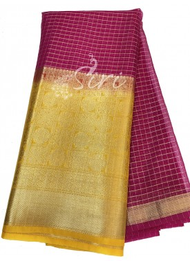 Magenta Pink Organza Checks Fabric with Yellow Contrast Kanchi Border per meter
