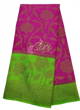 Magenta Pink Tissue Banarasi Dupion Silk Saree with Contrast Border