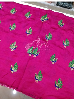 Magenta Raw Silk Fabric in Peacock Design Butis Embroidery Work Per Meter