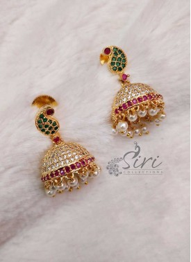 Mango Design AD Stone Earrings Jhumkis