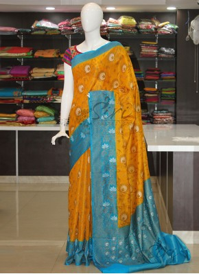 Marigold Yellow Blue Banarasi Tissue Dupion Silk Saree