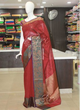 Maroon Fancy Banarasi Linen Saree
