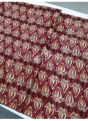 Maroon Multicolour Manipuri Silk Fabric in Digital Print Fabric Per Meter