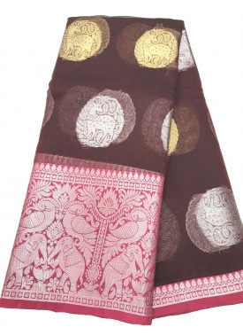 Maroon Organza Silk Saree in Silver and Gold Butis