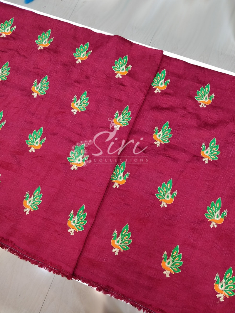 Maroon Raw Silk Fabric in Peacock Design Butis Embroidery Work Per Meter