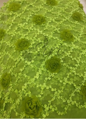 Mehendi Green Net Fabric in Fancy Flowers Per Meter