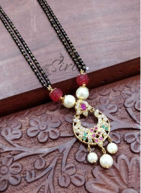 Micro Gold Polish AD Stones Chand Baali Design Pendant Black Beads Mangalsutra