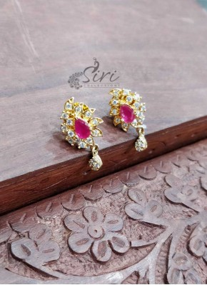 Micro Gold Polish CZ Ruby Earrings