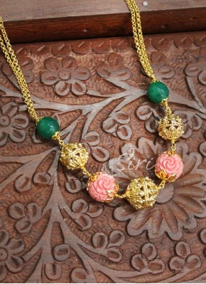 Micro Polish Gold Chain in Green Onyx Gold Plated Balls Rose Shape Carved Beads