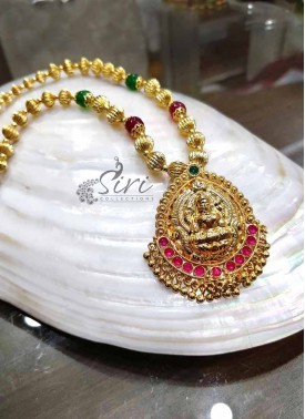Micro Polish Gold Plated Chain Necklace in Lakshmi Pendant