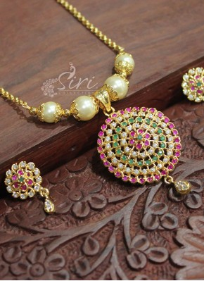 Micro Polish Gold Plated Multi Colour Stone Pendant Necklace Set