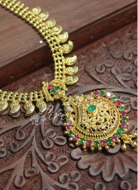 Micro Polish Gold Plated Necklace in Mango Design Chain
