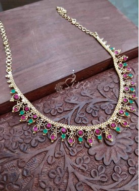 Micro Polish Gold Plated Ruby Emerald Stone Neckla