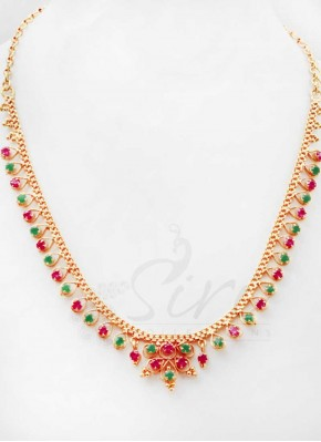Micro Polish Gold Plated Simple Stone Necklace