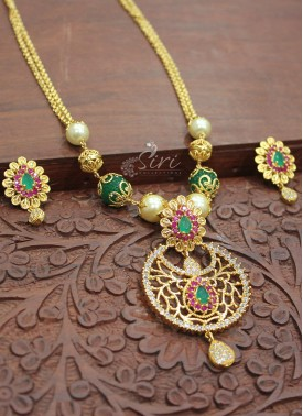 Micro Polish in Gold Chain with Pendant Set