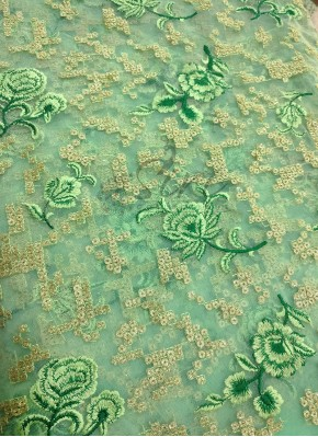 Mint Green Net Fabric with Sequins and Embroidery Work Per Meter