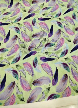 Mint Green Purple Lavender Feather Design Digital Print Soft Cotton Fabric Per Meter