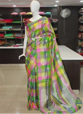 Multi Colour Checks Design Pure Kanchipuram Silk Saree in Rich Silver Zari