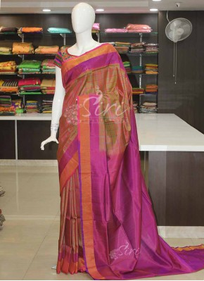 Multi Colour Checks Uppada Silk Saree