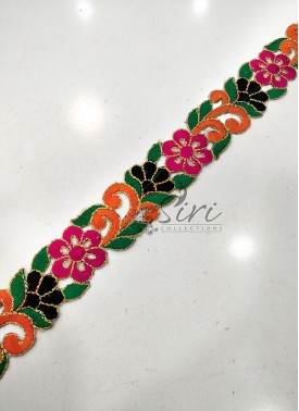Multi Colour Cut Work Border Lace