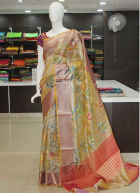 Multi Colour Designer Tissue Saree in Rich Pallu and Blouse