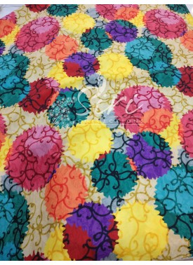 Multi Colour Digital Print Crepe Fabric By Meter