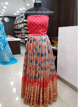 Multi Colour Digital Print Embroidery Work Raw Silk Lehenga Crop Top Fabric Set