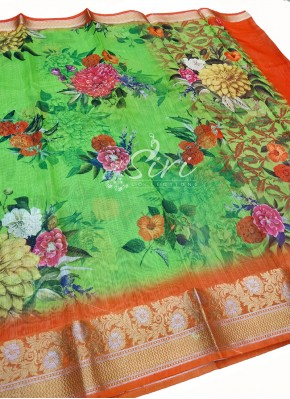Multi Colour Digital Print Fancy Linen Cotton Blend Saree