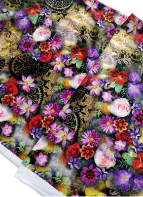 Multi Colour Digital Print Velvet Fabric Per Meter
