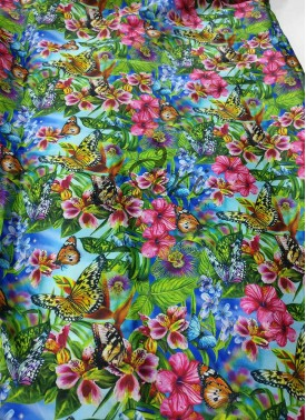 Multi colour Floral Design Digital Print Satin Fabric Per Meter
