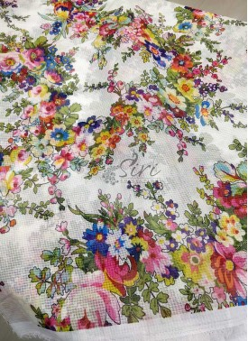 Multi Colour Floral Digital Print Fancy Kora Fabri
