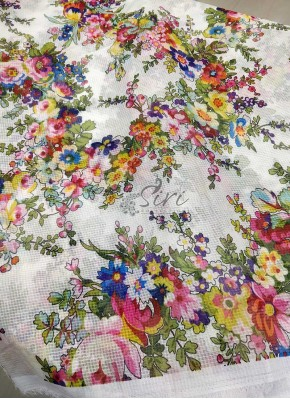 Multi Colour Floral Digital Print Fancy Kora Fabric Per Meter