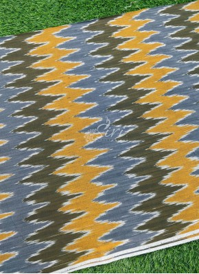 Multi Colour Grey Olive Green Yellow Ikat Cotton Fabric Per Meter