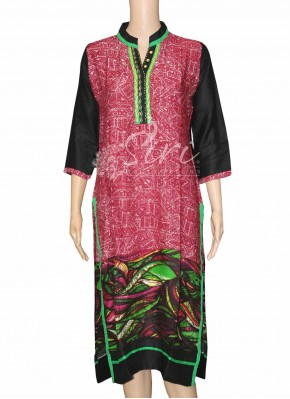 Multi Colour Long Length Maroon Rayon Kurti with Collar