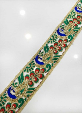 Multi Colour Peacock Design Fancy Cut Work Border Lace