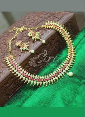 Multi Colour Stone Gold Micro Polish Fashion Jewellery Traditional Necklace Set
