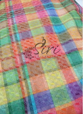 Multi Coloured Checks Digital Print in Self Embroidery Work Cotton Fabric Per Meter