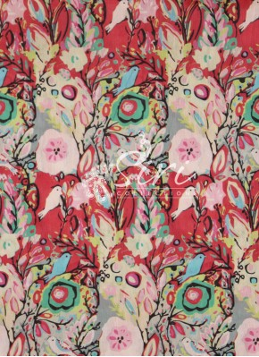 Multi Digital Print Raw Silk Fabric By Meter