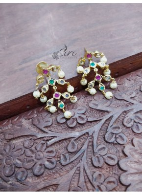 Multi Stone Pearl Designer Earrings