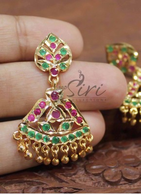 Multi stone ruby emerald fancy earrings