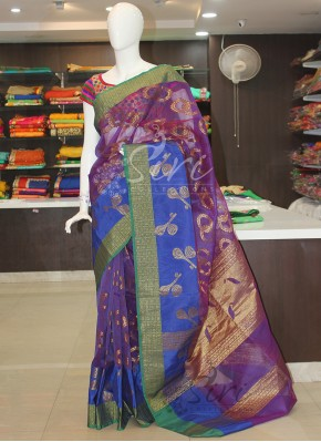 Musical Instruments Design Purple Banarasi Kora Saree