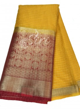 Mustard Yellow Organza Checks Fabric with Red Contrast Kanchi Border per meter