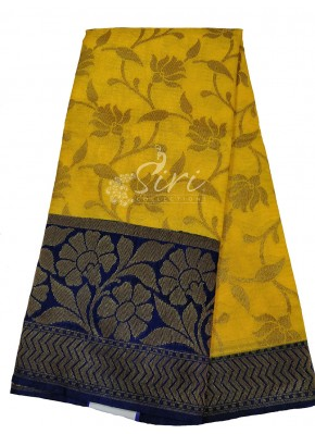 Mustard Yellow Tissue Banarasi Dupion Silk Saree in Navy Blue Contrast Border