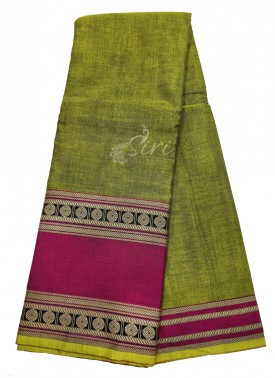 Narayanpet Mercerized Cotton Saree in Designer Borders