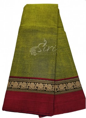 Narayanpet Mercerized Cotton Saree in Elephant Design Borders