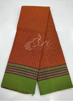 Narayanpet Mercerized Cotton Saree in Self Checks