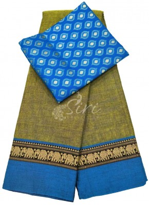 Narayanpet Mercerized Cotton Saree With Multi Colour Blouse