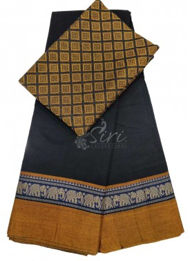 Narayanpet Mercerized Cotton Saree With Woven Blou