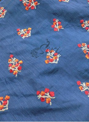 Navy Blue Banarasi Silk Fabric in Embroidery and Sequins Work Butis Per Meter