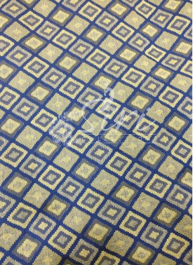 Navy Blue Beige Cotton Jacquard Fabric By Meter